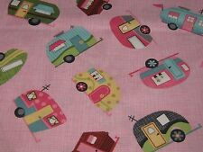 """TimelessTreasures """"MOTORHOMES"""" {Pink}100% Cotton Fabric by The yard !"""