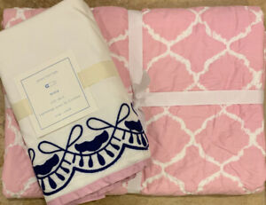 NEW 2PC Pottery Barn Kids Nora Crib Skirt + Quilt Baby Bedding LILAC NAVY