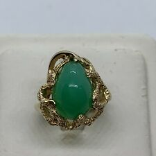 Vintage 14k yellow gold green chrysoprase oval cabochon ring organic free form