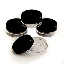 10 x 3ml CLEAR PLASTIC SAMPLE POTS/JARS BEST QUALITY MakeUp/Glitter/Cream jgb10