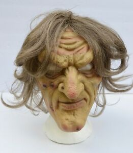 Realistic Ugly Old Lady Face Halloween Season Witch Mask with Hair
