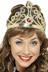 Adult Queens Crown Jewel Assorted Colours Silver Or Gold Fancy Dress Accessory