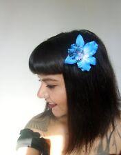 Pince clip cheveux fleur orchidée bleue coiffure pin-up rétro rockabilly