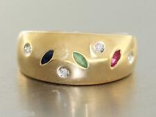 Ring Gold 585 - Brillantring in 14 kt Gold (585/000) mit Rubin, Safir, Smaragd