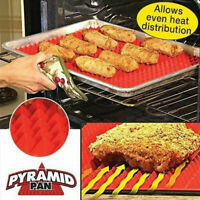 Pyramid Pan Non Stick Silicon Cooking Mat Oven Baking Tray Fat Reducing 29x41cm