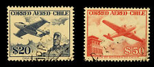 Chile Stamps Air Mail  1956 / Set of 2  /  Used