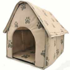 Pet Dog Soft Bed House Indoor Large Collapsible Portable Fiber Material Khaki