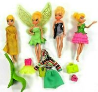 Disney Fairy Dolls 4 Tinkerbells w/Clothes Purses Chair 1 Pr Wings 2 Rooted Hair