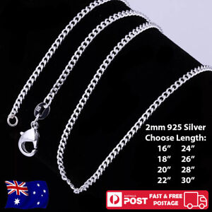 925 Sterling Silver 2mm Classic Curb Chain Necklace For Pendants - NEW