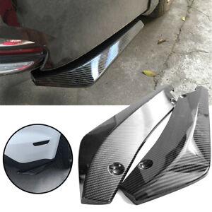 2X Universal Rear Bumper Lip Diffuser Splitter Canard Protector Carbon Fiber EA