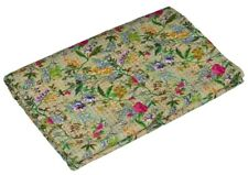 Indian Handmade Floral Kantha Quilt Reversible Bedspread Queen/Double Cotton
