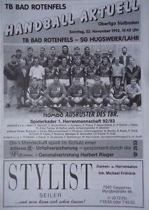 Programm Handball 22.11.1992 TB Bad Rotenfels - SG Hugsweier / Lahr