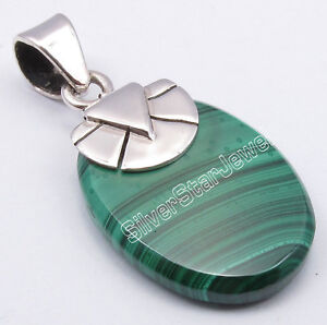 "925 Solid Silver GREEN MALACHITE EXTRA ORDINARY Pendant 1.2"" GIRLS' JEWELRY"