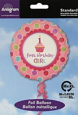 """Sweet Little Cupcake First Birthday Girl Foil Party Balloon Pink 18"""""""