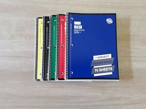 1 Subject Wide Ruled Solid Spiral Notebook 70 sheets - different colors