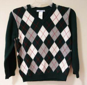 NWT Janie and Jack Tartan Train Pullover Sweater Boy's Size 4
