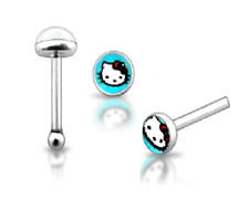 925 Sterling Silver Blue Hello Kitty Nose Stud with Ball End