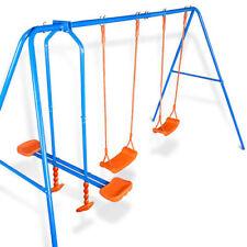 Altalena da Giardino per Bambini Dondolo 4 Posti Con Cavalluccio per Esterno Blu