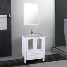 "24"" White Bathroom Vanity & Rectangle Ceramic Vessel Sink Top Wood Cabinet Set"