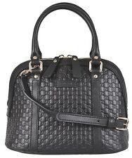Gucci 449654 $995 Micro Guccissima GG Black Leather Convertible Mini Dome Bag NW