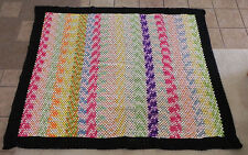 "Hand Made Crochet Blanket,Bed Cover Rainbow color Size 72""x90"""