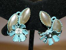 VINTAGE Pastel Blue Enamel Metal Flower w Pearl & Rhinestone Clipon Earrings
