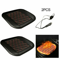 2x Car Seat Heated Cover Cushion Pad Winter Heating Heater Warmer Leather Black