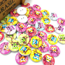 New 10/50/100/500pcs Cute Owl Wood Buttons 20mm Sewing Craft Mix Lots WB49