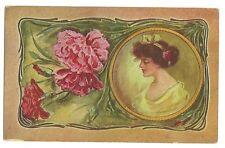 Red Carnation Pretty Lady Postcard Series A 180  Postcard