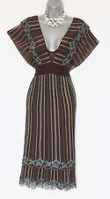 Karen Millen UK 10 Brown Embroidery Ruffle Batwing Sleeves Low V Neck Dress EU38
