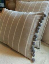 "16X12"" French vintage linen look stripe dove light grey cushion cover & pom pom"