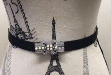 Vintage Looking Rhinestone Pearl Metal Buckle Women Belt Elastic Black