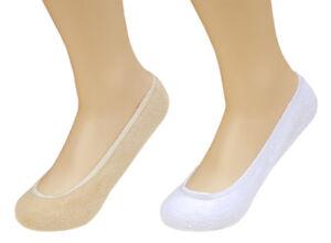ACCLAIM Ladies Mens Invisible Secret Socks Soft Absorbent Cotton Blend White Tan