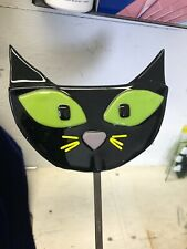 New listing Black Cat Garden Stake in Fused Glass