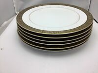 Set of 6 Large Serving Plates from Sango China Japan Hampton 3758 Extra Wide Gol