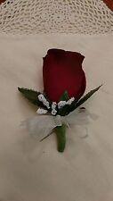 Burgundy Silk Rose/Cream Bow Boutonniere - Groom/Groomsman - Wedding-Celeb.-Prom