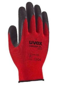 Uvex Safety Gloves Builders Latex-Coated Gripper Gloves- Dry, Light Oil/Wet Use