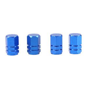 4X Blue Auto Car Tyre Rim Valve Wheel Stem Air Port Dust Caps Cover Accessory