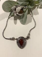BA Suarti Bali 925 Sterling Silver Carnelian Pendant Necklace