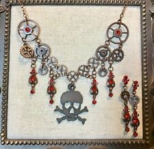 Gothic/Steampunk Necklace & Earrings- Skull, Gears & Red Glass Stone Accents