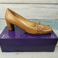 Enzo Angiolini Women's Brown Leather Slip On Buckle Block Heels Shoes Size 10 M