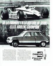 PUBLICITE ADVERTISING 027  1982  les bougies Champion  rallye Renault Formule 1