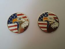 2 pcs OF US Flag w/ Eagle GOLF BALL MARKER for Golf Hat Clip