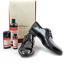 NIB Salvatore Ferragamo Charles Jet Black Patent Leather Derby Shoes 10 D
