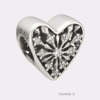 Authentic PANDORA SILVER CHARM HEART OF WINTER #791996CZ
