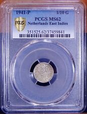 Netherlands Dutch East Indies 1941-P 1/10 Gulden PCGS MS62 Nice TONE Silver Coin