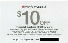 Macy's Star Pass E-Coupon: $10 Off $30 = MESSAGE Delivery, Exp 10/31/20 Oct 31