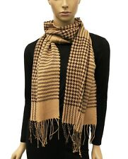 Women's Houndstooth Plaid Checks Scarf with Fringe Fall Winter Cute Warm