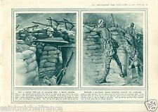 Tommy UK Trench Gas mask Alarm Respirators / Royal Navy WWI 14 18 PLANCHE 1916