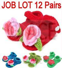12 Pairs of Crochet Baby Shoes Girls Handmade Woollen Knitted Sandals 0-9 Months